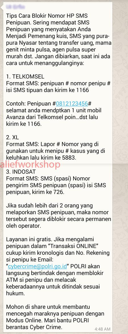 Hoax Blokir SMS Penipu
